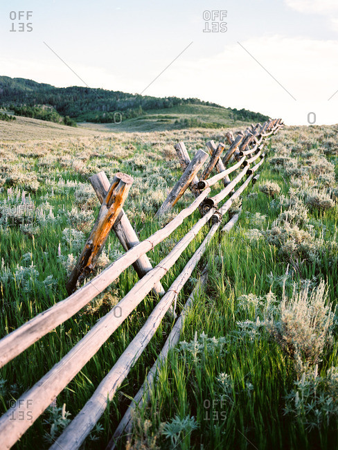 Rustic fence in a prairie