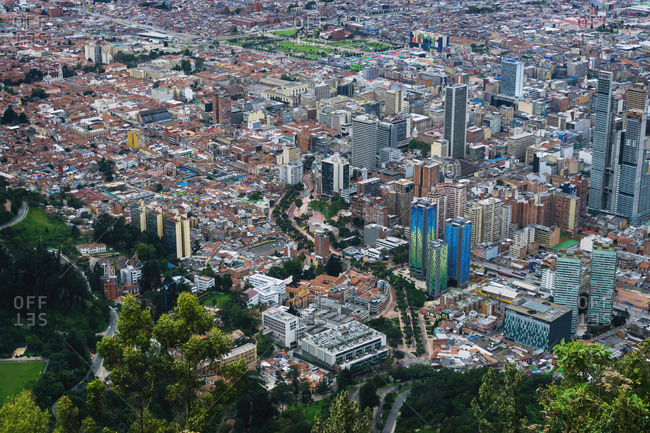 Bogota, Colombia - January 2, 2017: View of Bogota from above