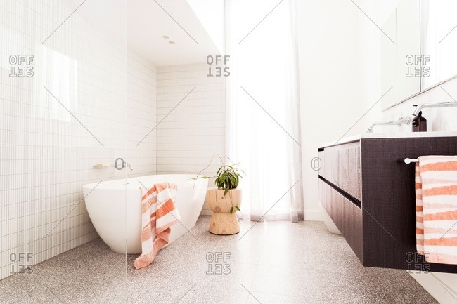 A modern bathroom in sunlight