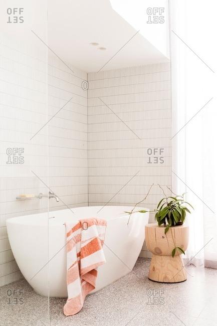 Modern tub in sunny bathroom