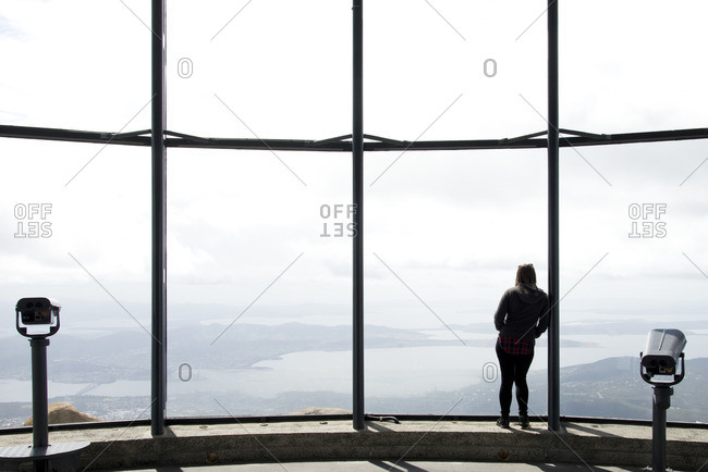 Woman in lookout in Hobart, Tasmania, Australia