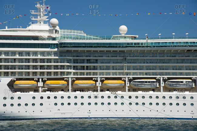Sydney, Australia - December 11, 2015: Side of a cruise ship