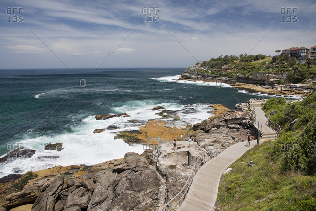 Sydney, Australia - December 11, 2015: Walkway along the coastline