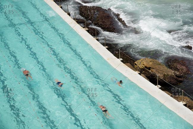 Sydney, Australia - December 11, 2015: Swimming pool on Bondi Beach