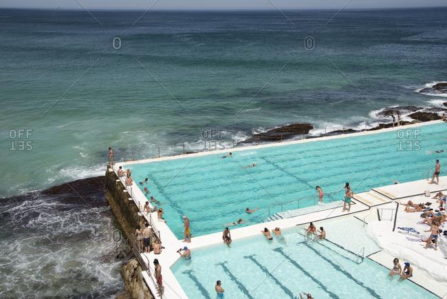 Sydney, Australia - December 11, 2015: Swimming pool at Bondi Beach