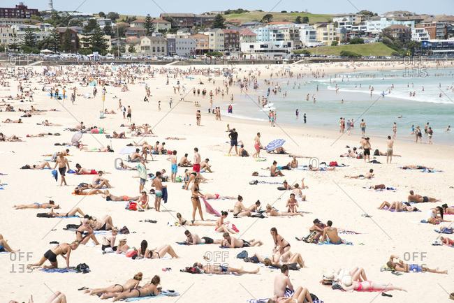 Sydney, Australia - December 11, 2015: Crowds on Bondi Beach