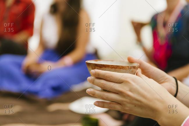 Bowl held during meditation group