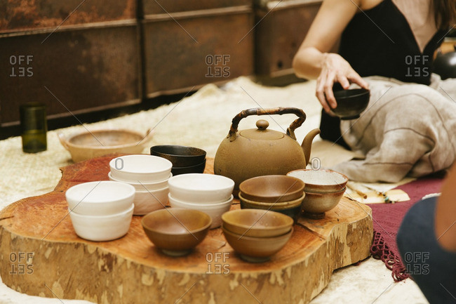 Tea serving bowls by women