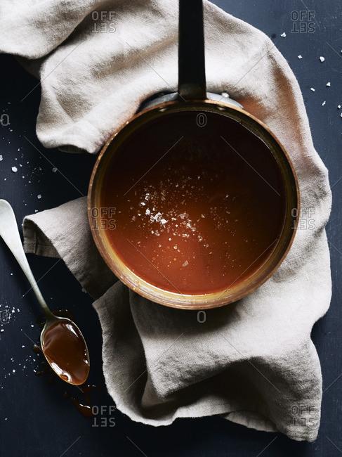 Salted caramel in a copper saucepot