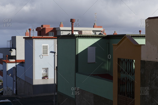 Spain, Isle of La Palma. Houses on La Palma painted in typical Canary islands colors.