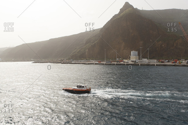 12/26/16 - Spain, Isle of La Palma: A small boat leaves the harbor of La Palma.