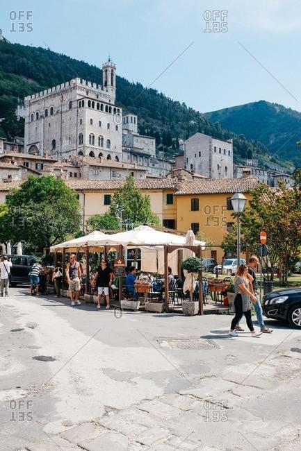 Gubbio, Italy - August 15, 2015: Street scene of the city