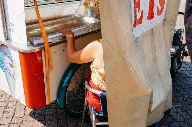 Woman selling ice cream