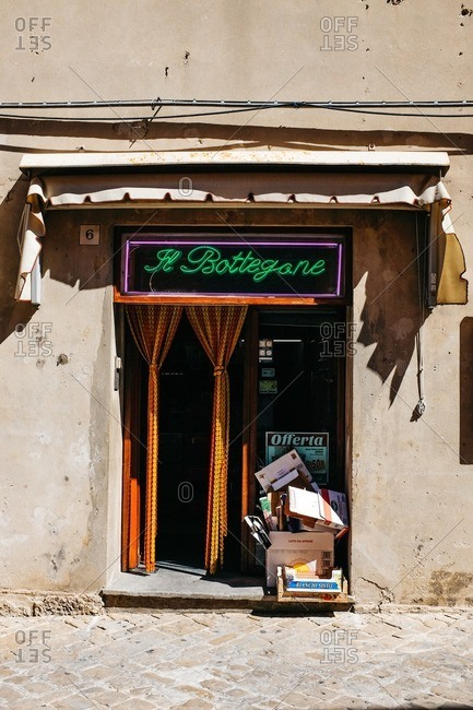 Cingoly, Italy - August 17, 2015: Entrance to a shop