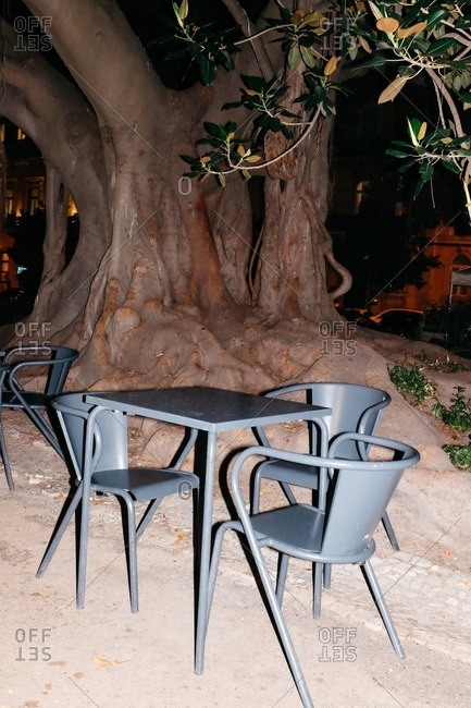 Chairs and table in front of a tree