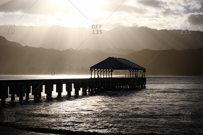Ocean pier at sunset.