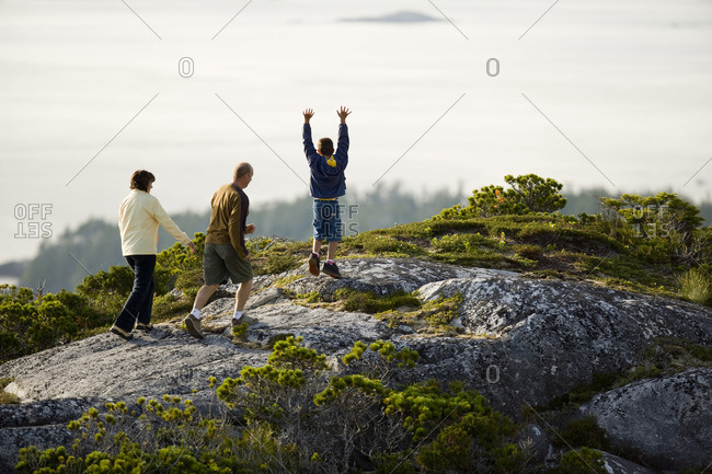 Family reaching a hill summit together.