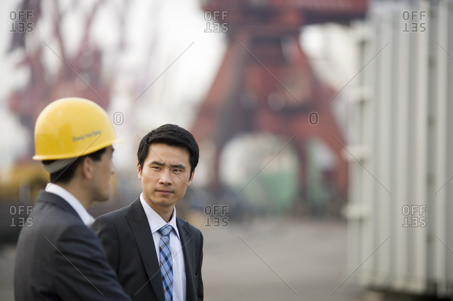 Business colleagues on a construction site.