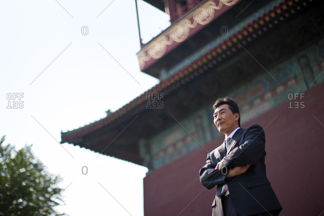 Businessman at a temple.
