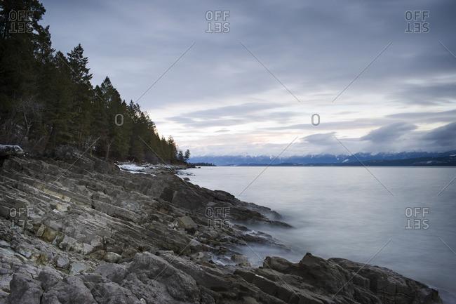 Lake under an overcast sky.