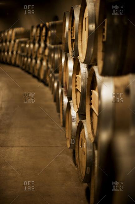 Stacks of wine barrels in a cellar.