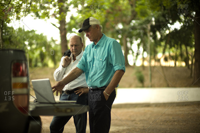 Two men looking at a laptop on the back of a pick-up truck.