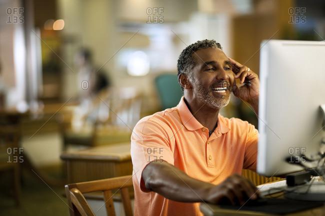 Man using a computer.