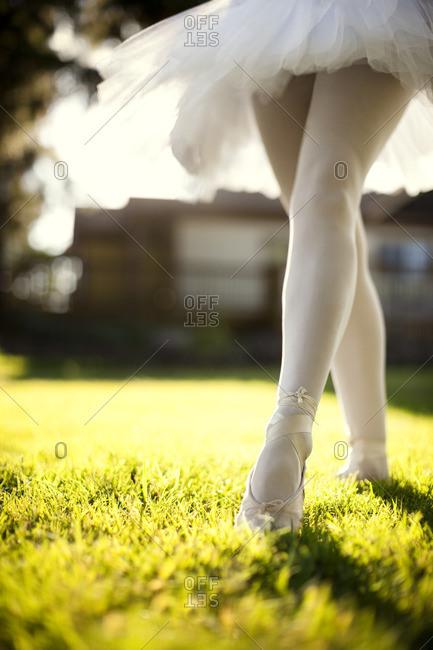 Ballet dancer on the lawn.