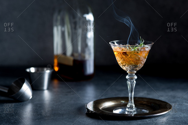 Old Fashioned Bourbon Cocktail with Smoked Rosemary