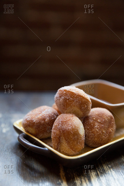 Zeppole bread served with a dusting of sugar
