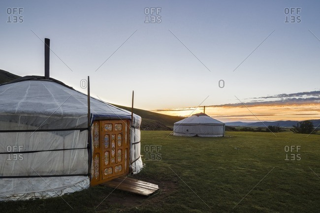 Sunrise in the Mongolia steppe, Mongolia