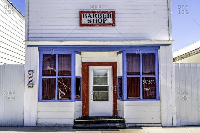 Tyndall, South Dakota - October 13, 2016: Exterior of a barbershop
