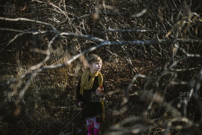 Little girl walking through woods holding an apple