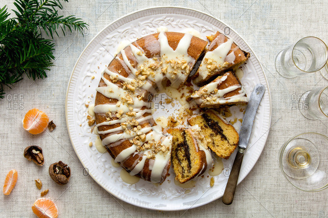 Christmas orange bundt cake with orange glazing