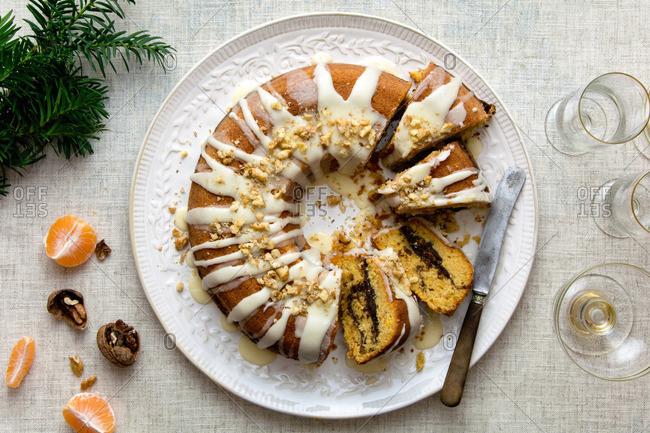 Christmas orange bundt cake with orange glazing