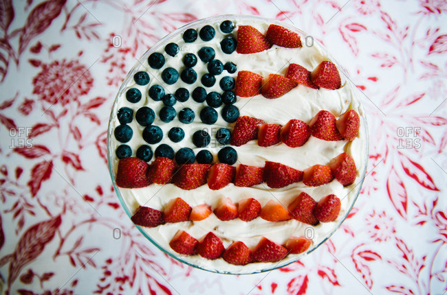 American flag dessert on a red and white table cloth