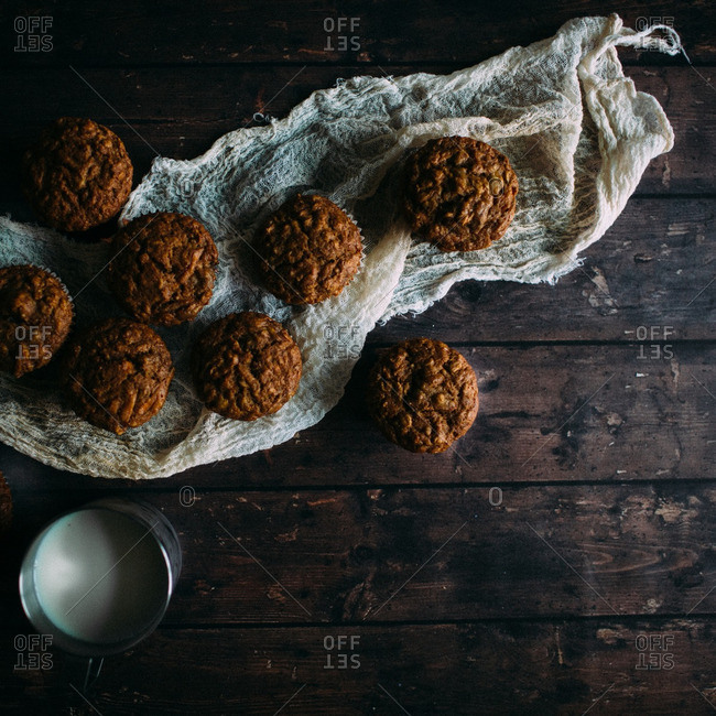 Carrot muffins and milk