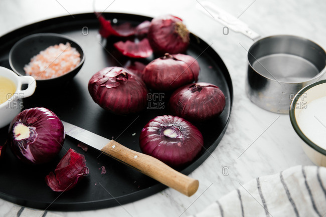 Red onions on a platter