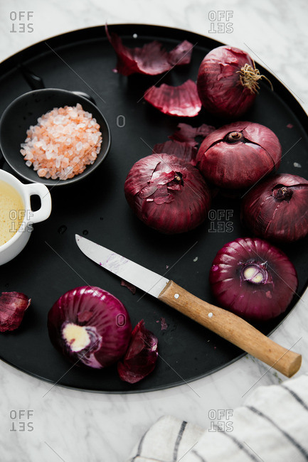 Red onions on platter