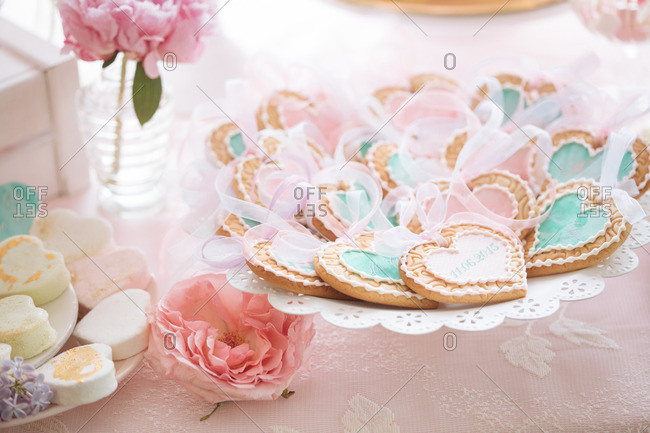 Heart shaped cookies and sweets