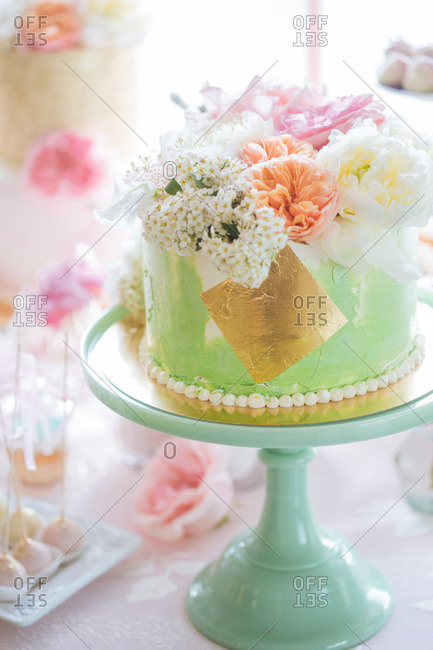 Cake topped with flowers