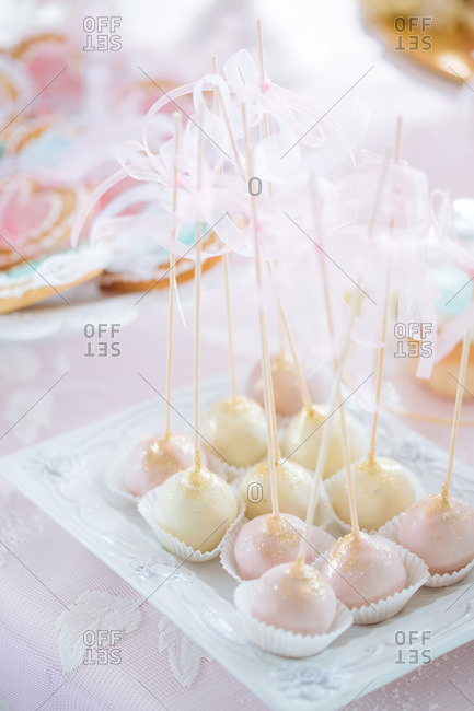 Dipped desserts on a table