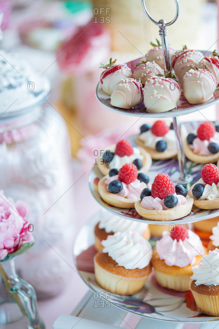 Various desserts on tiered platter