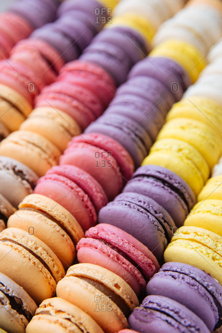 Colorful macaroon cookie rows