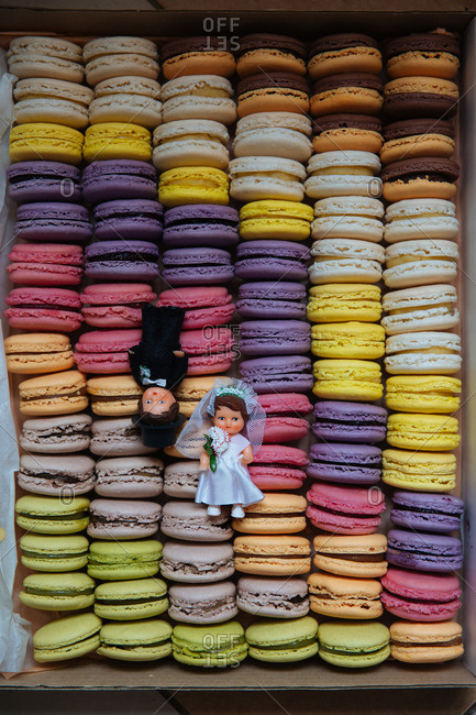 Wedding cake toppers on macaroons