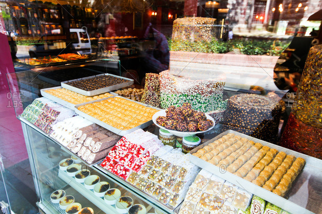 Desserts in window display, Istanbul