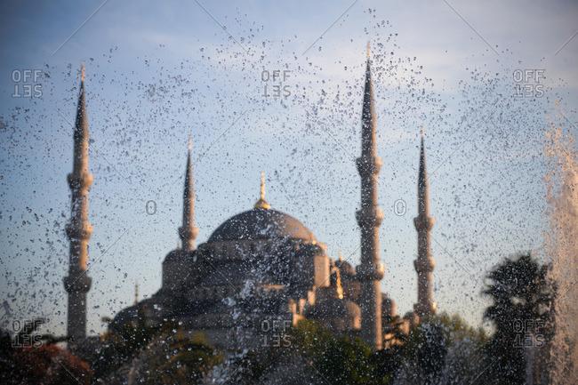 Water spraying near Hagia Sophia, Istanbul