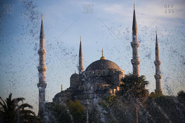 Water spraying by Hagia Sophia, Istanbul