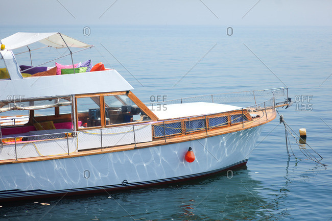 Leisure boat floating in sea, Istanbul