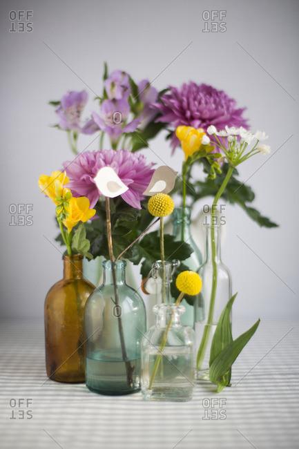 Flowers in bottles in studio shot